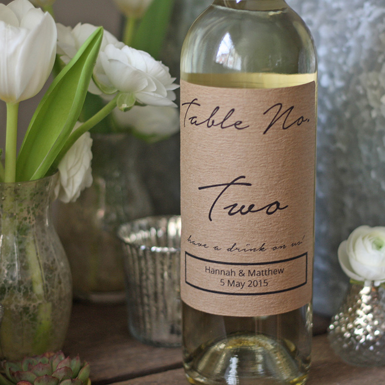 Wine bottle table numbers, The Wedding of my Dreams