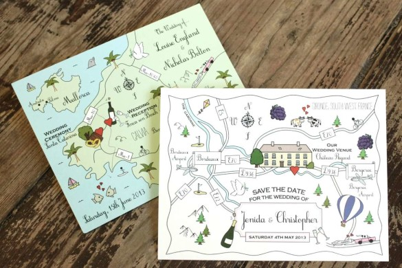 wedding invites from cute maps