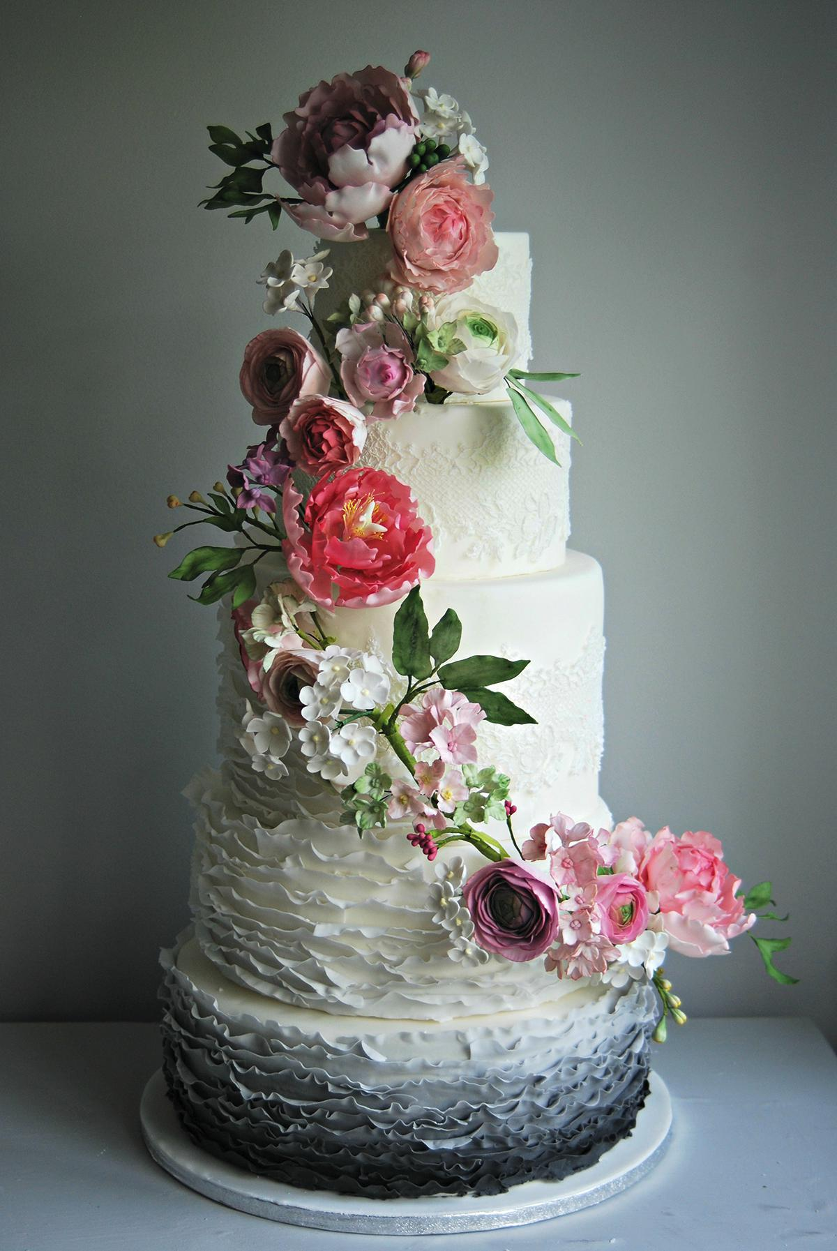 Floral wedding cakes - the-custom-cake-boutique