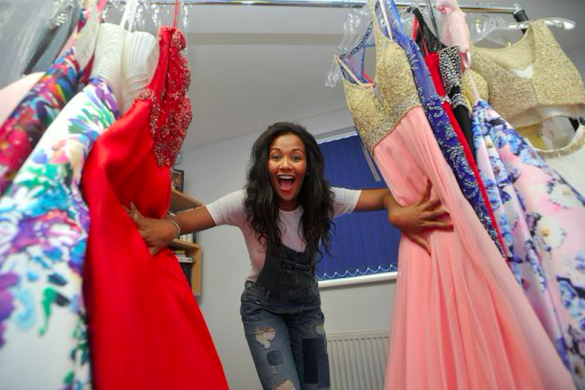 Miss England choosing her gowns from DOM Bridals
