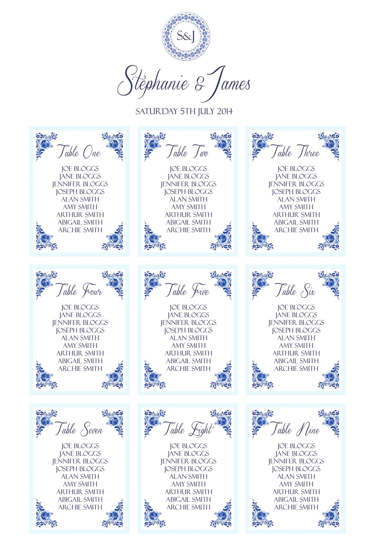 Knotsandkisses Co Uk China Blue Table Plan From