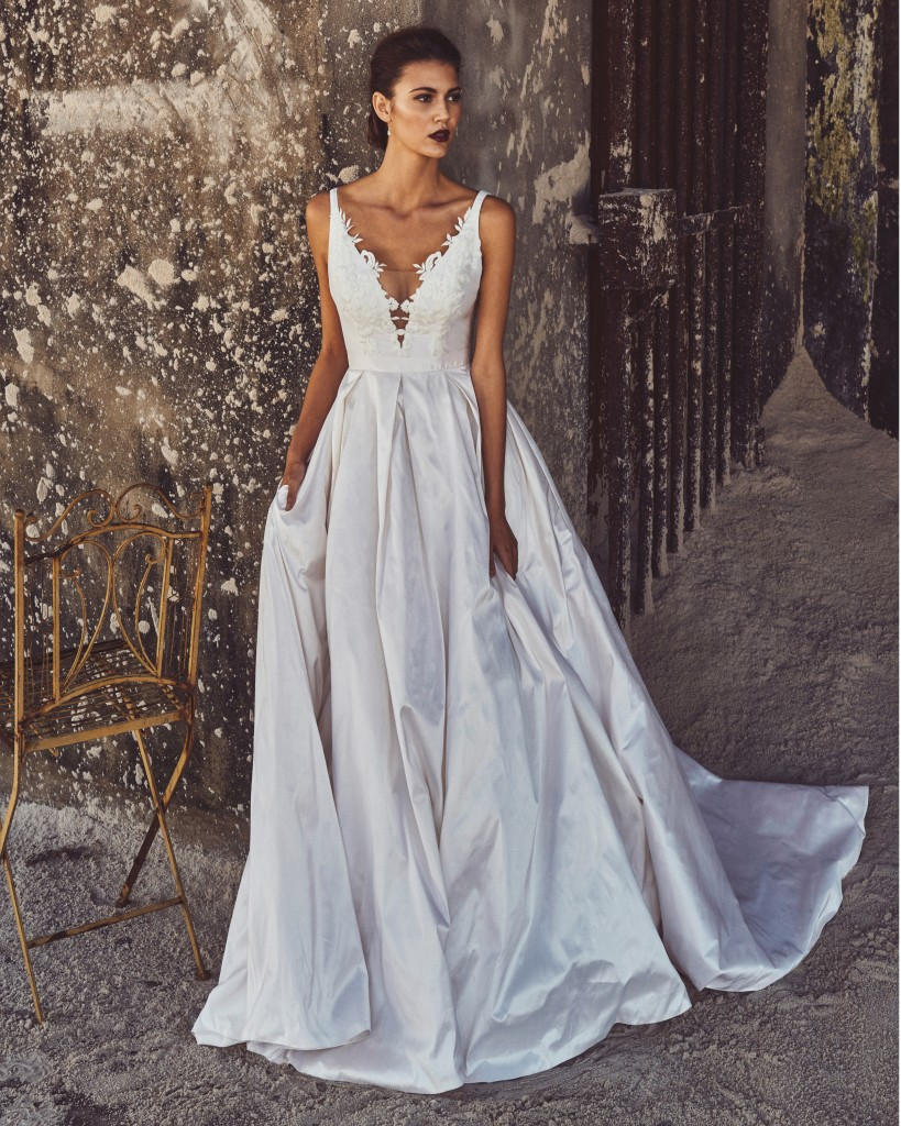 Destination wedding dresses from elbeth gillis love our for Modern house dress