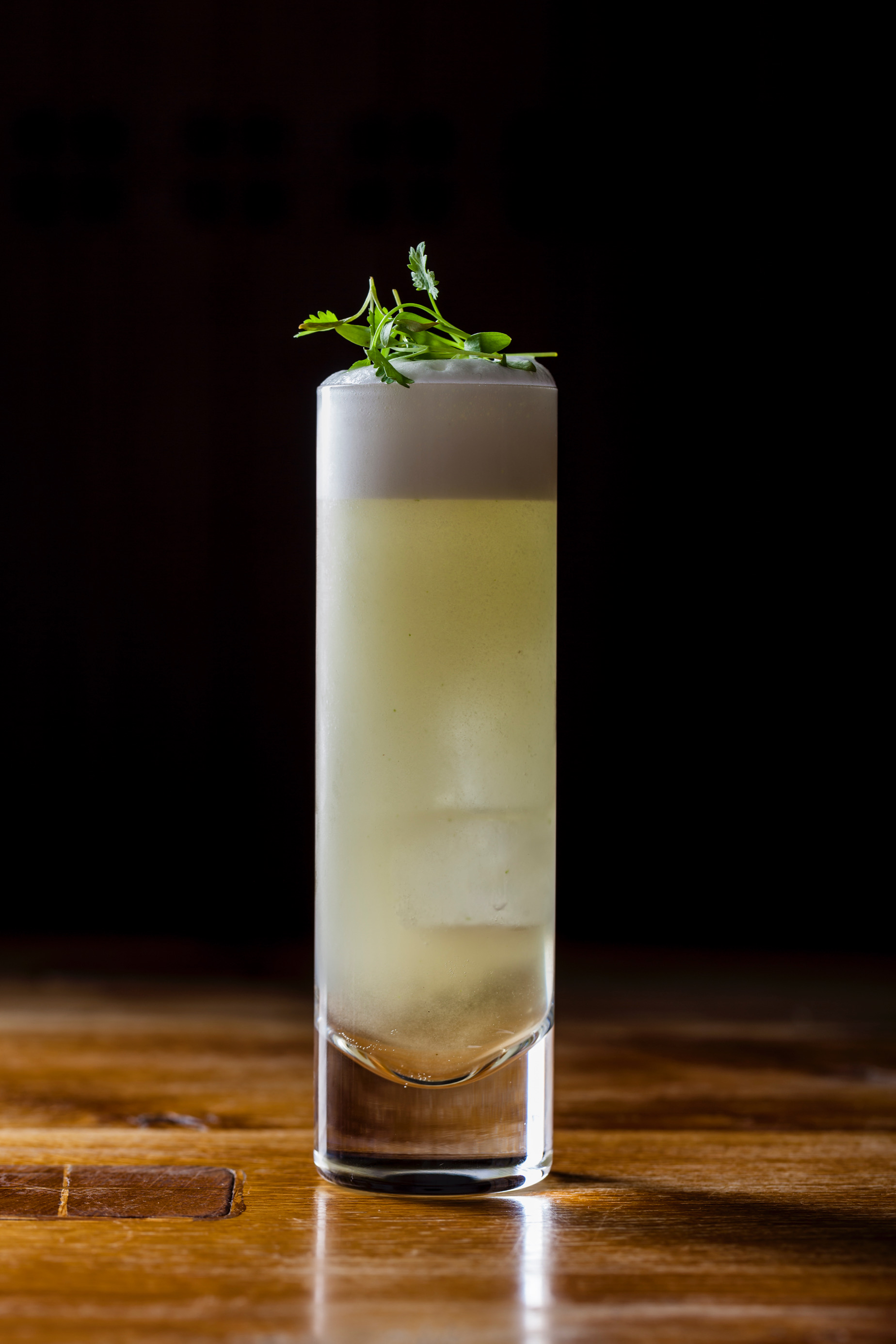 Electric Coriander Colada with coconut, clarified pineapple and micro coriander lightly carbonated