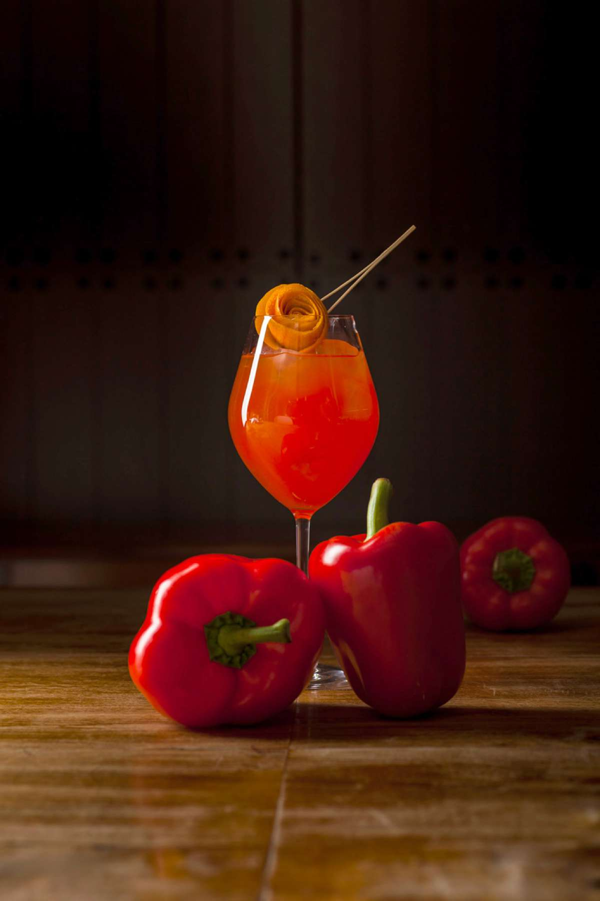 Garden Spritz with Roasted red peppers, wild elderflower and Verjus
