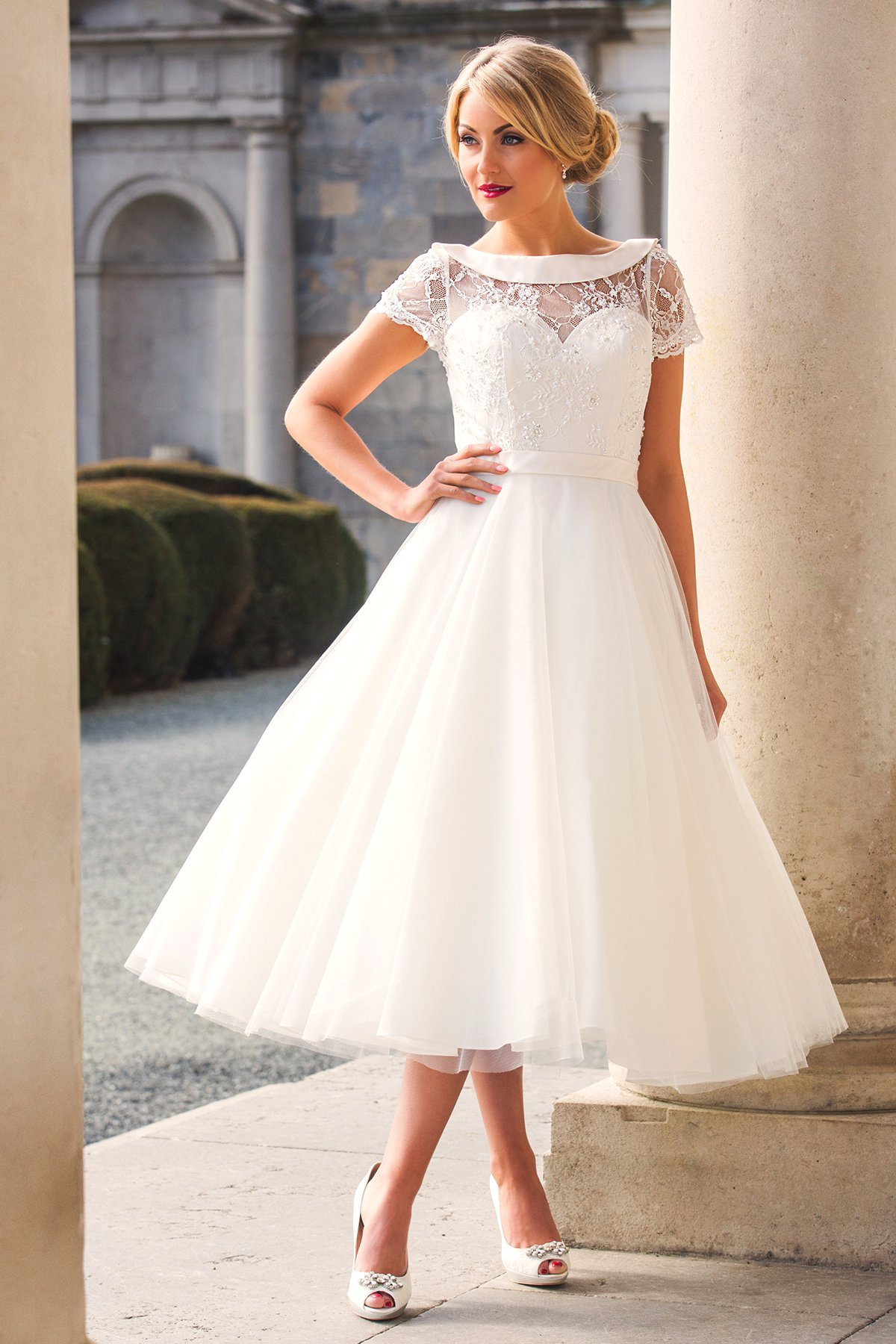 Stunning tea length wedding dresses from special day for Silver tea length wedding dresses