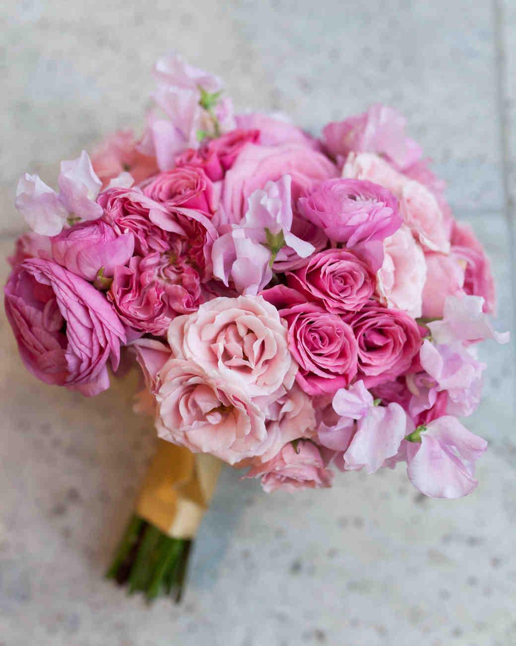 Rose, ranunculus and sweet pea bouquet. Image by cadenceandeli.com.
