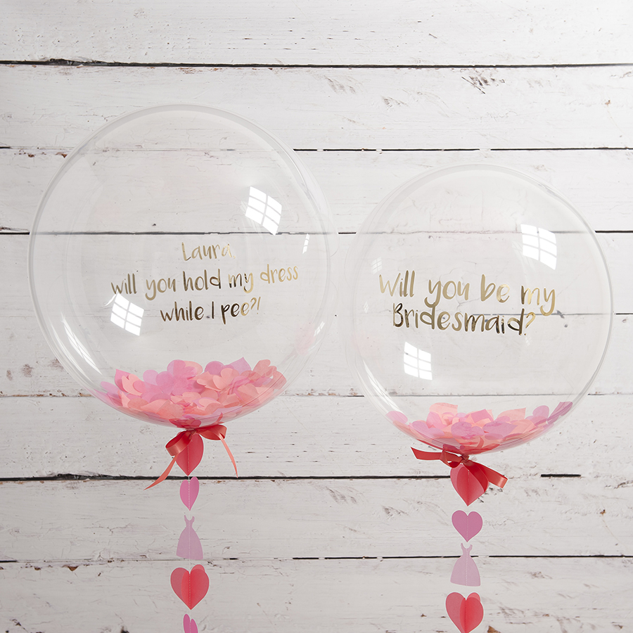 Bubblegum Balloons bridesmaid proposal