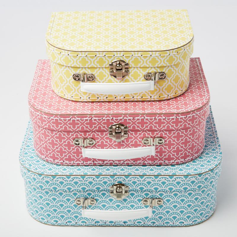 Centrepiece ideas - Set of three geometric suitcases £19.99