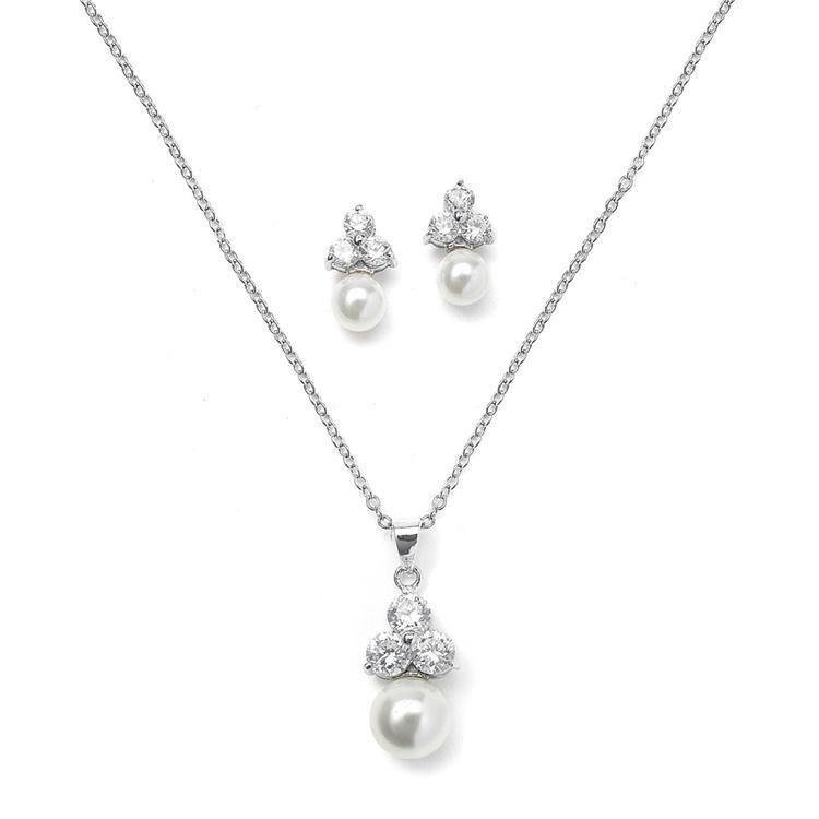 Bridal jewellery sets pearl-pendants-juliette-pearl-and-diamante-necklace-set-29.99