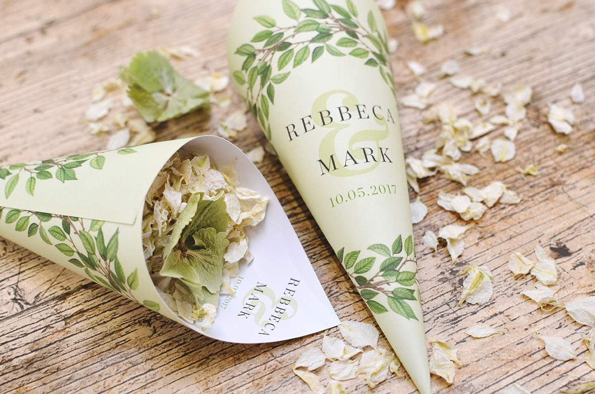 ShropshirePetals.com Woodland theme Personalised Confetti Cones from £11