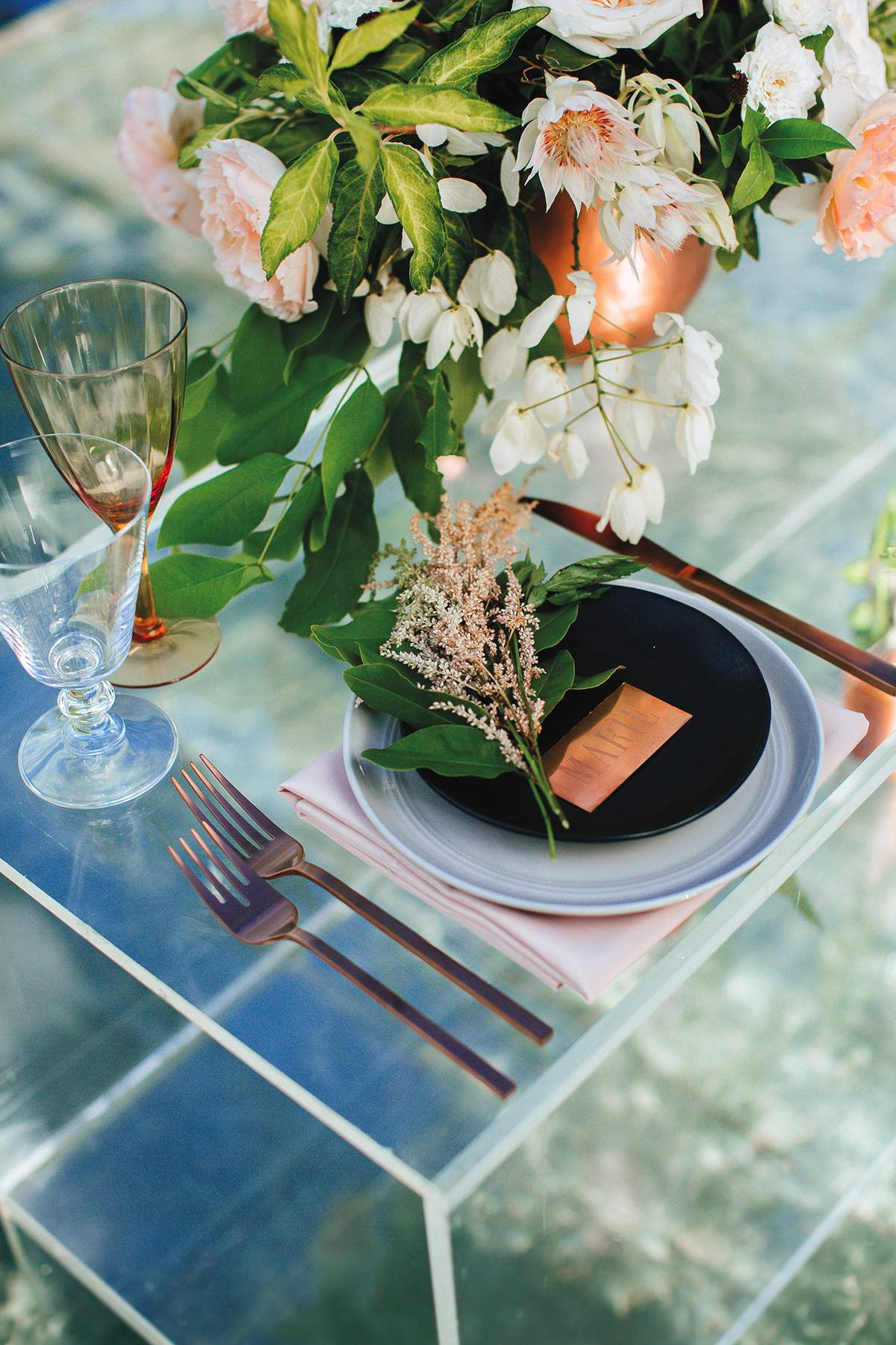 We love this rose gold wedding styled shoot love our for Cj evans home designs