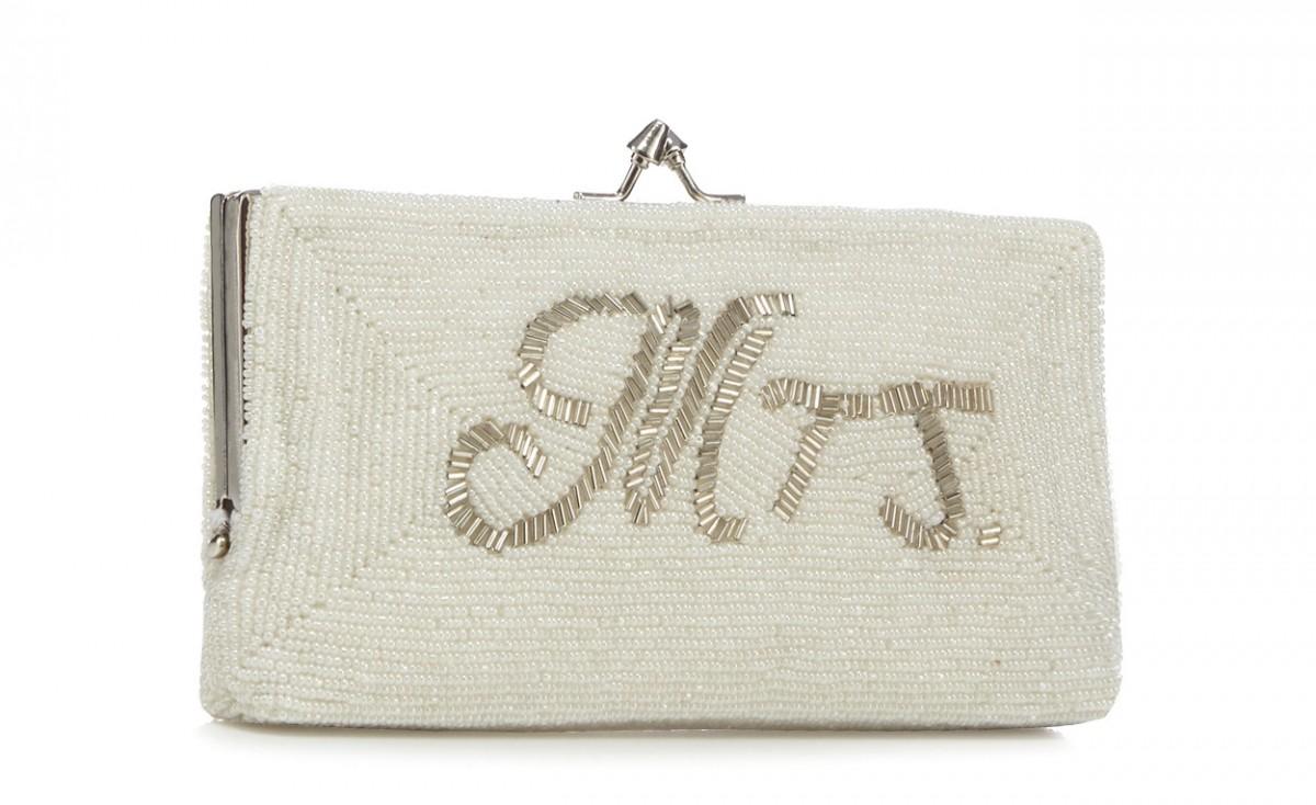 Debut Ivory 'Mrs' embellished clutch bag £45