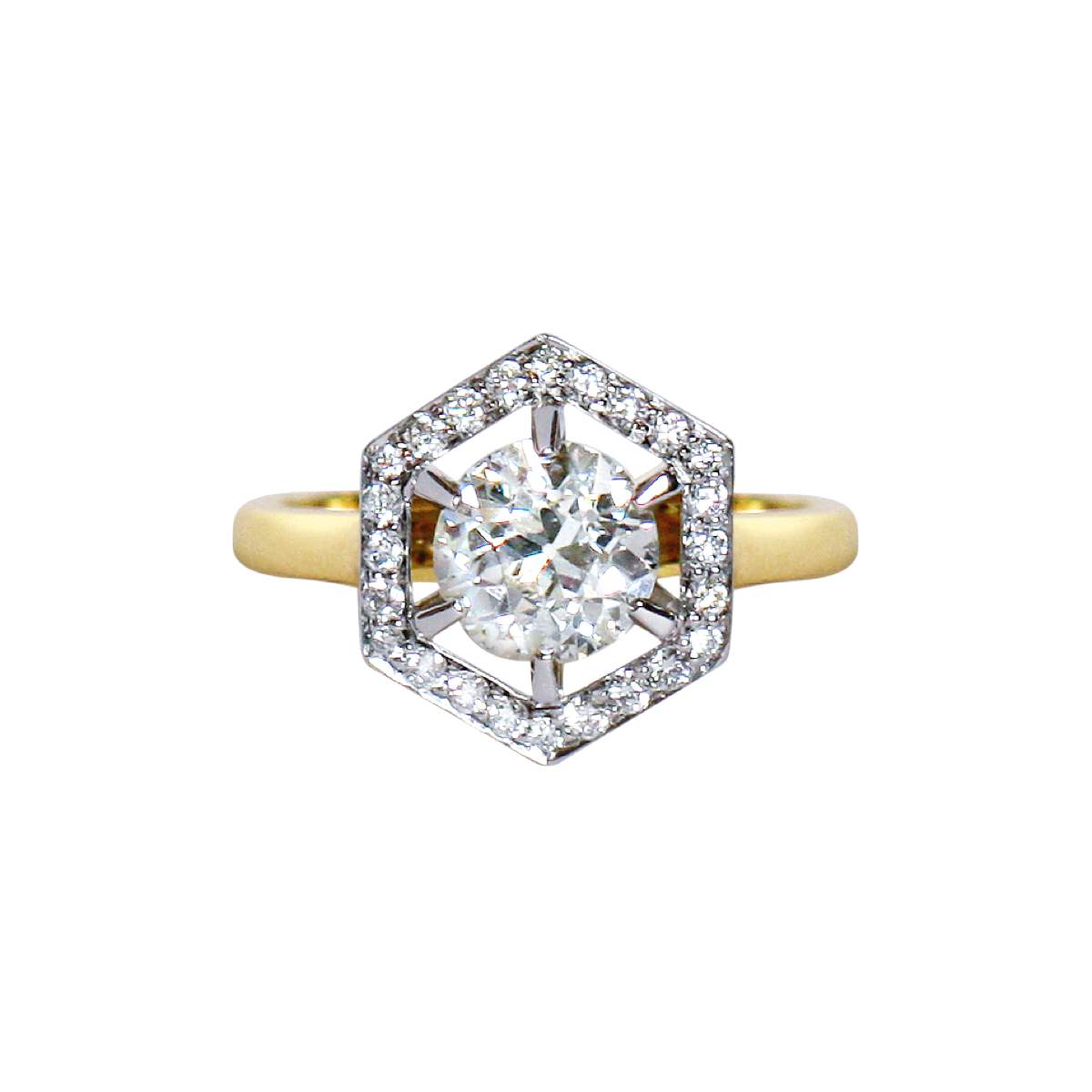 Gee Woods - Diamond Halo Hexagon Ring
