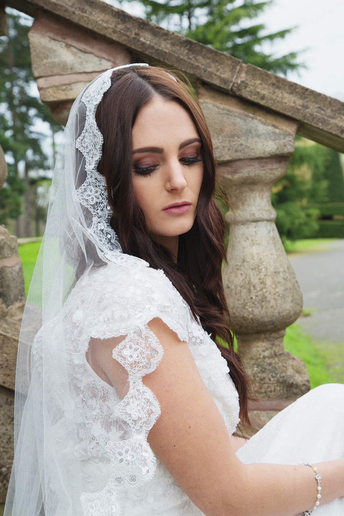 Laurel Lime Mantilla Lace Veil, £140