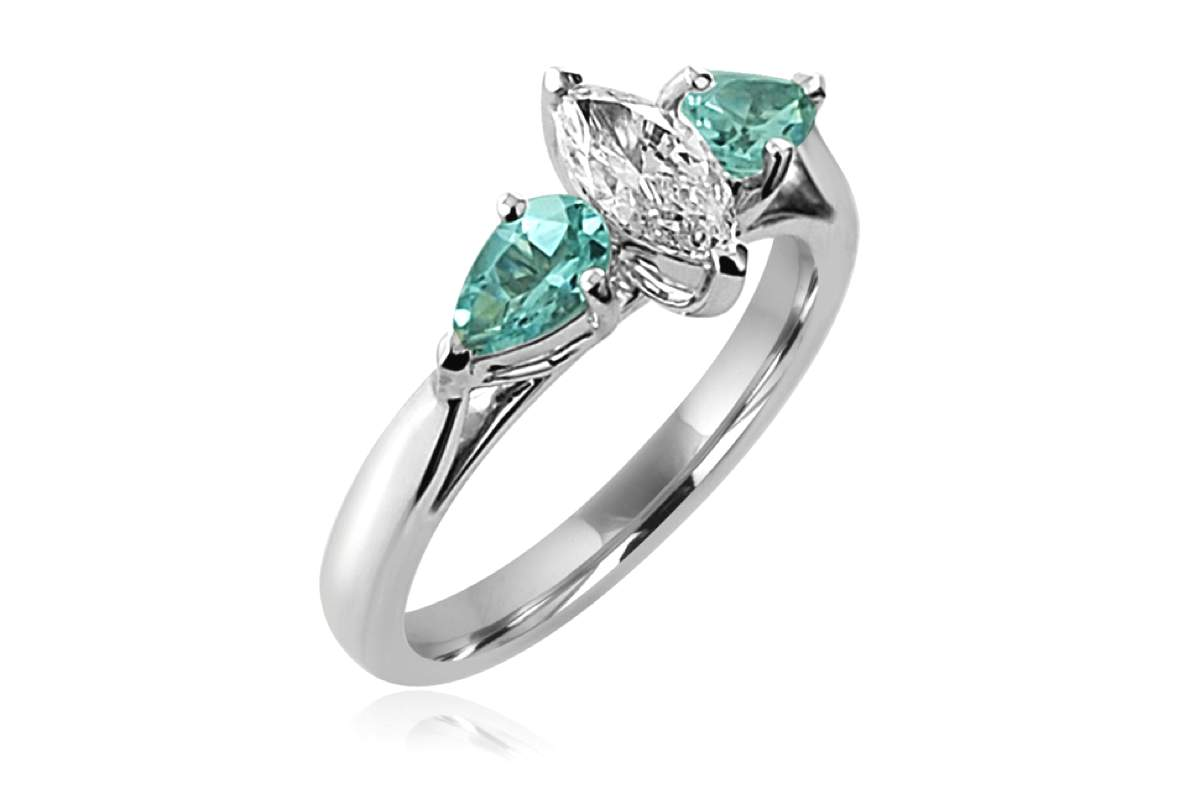 Pale aquamarine pear and marquise diamond ring in platinum copy