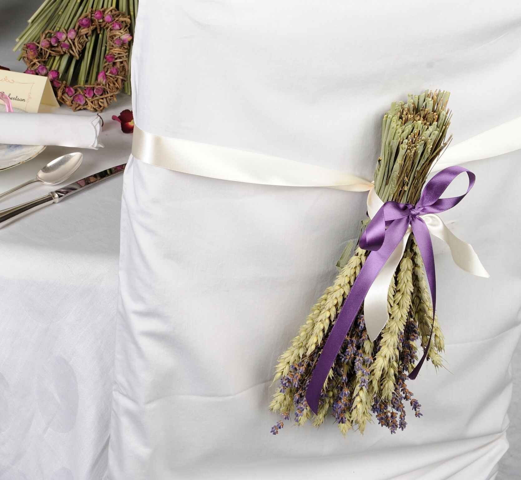 ShropshirePetals.com Chair Backs - Wheat and Lavender Posies £7.50 each_preview