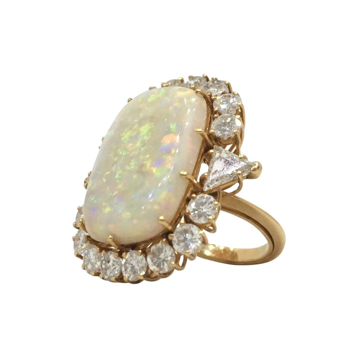 vintage art deco large opal and diamond
