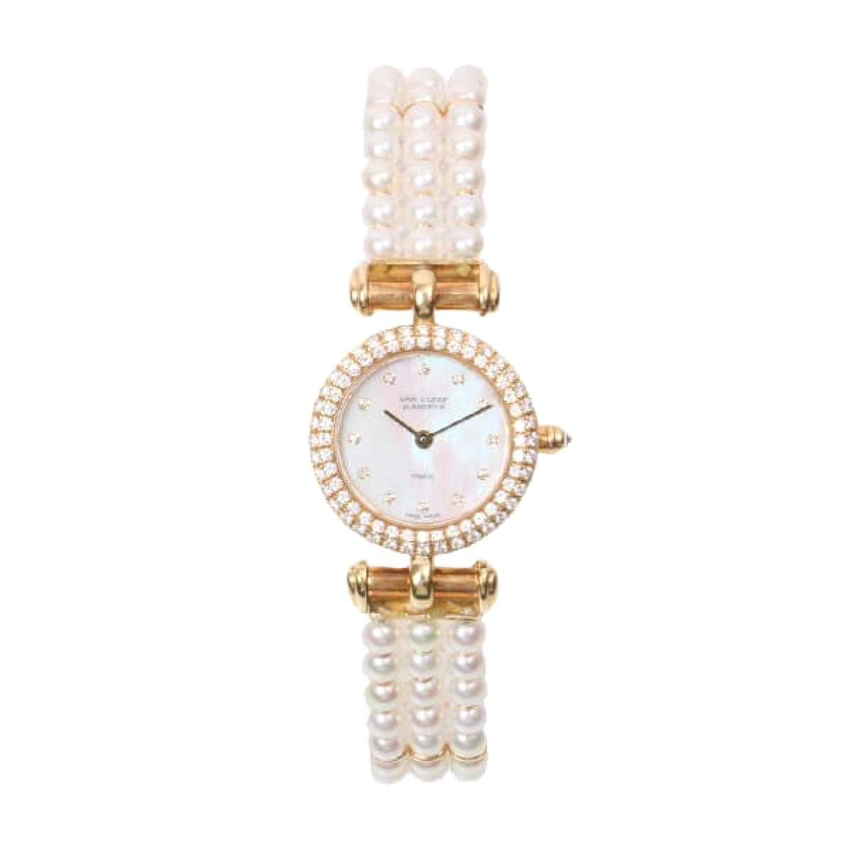 Van Cleef and Arpels fantasy bezel-set diamond watch with pearl strap