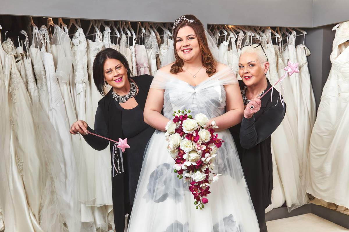 39 say yes to the dress 39 celebrity special love our wedding for Rainbow wedding dress say yes to the dress