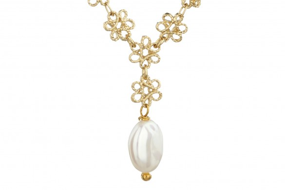 Mirabelle Jewellery High res filigree pearl necklace small