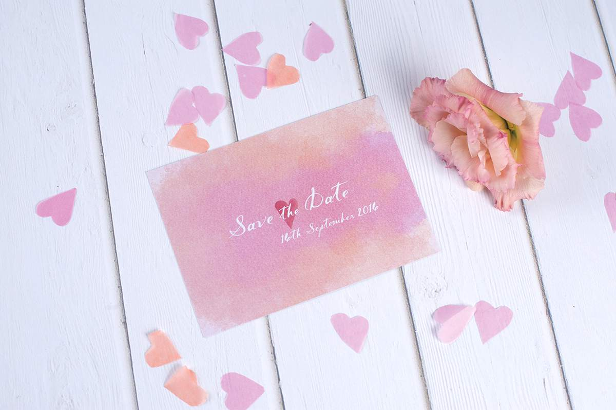 Watercolours Save the Date Heart Invites