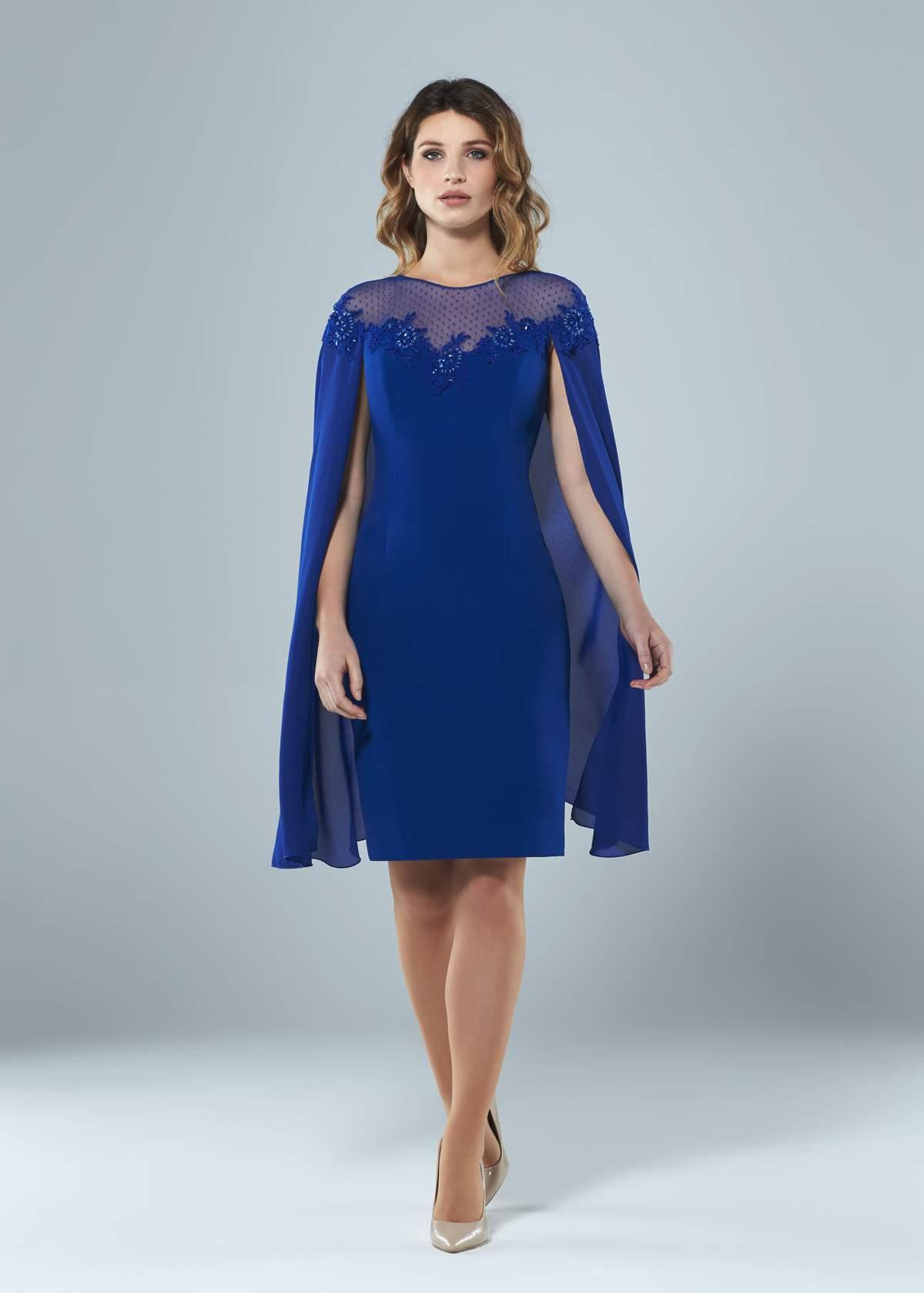 Spot Tulle Cape Dress