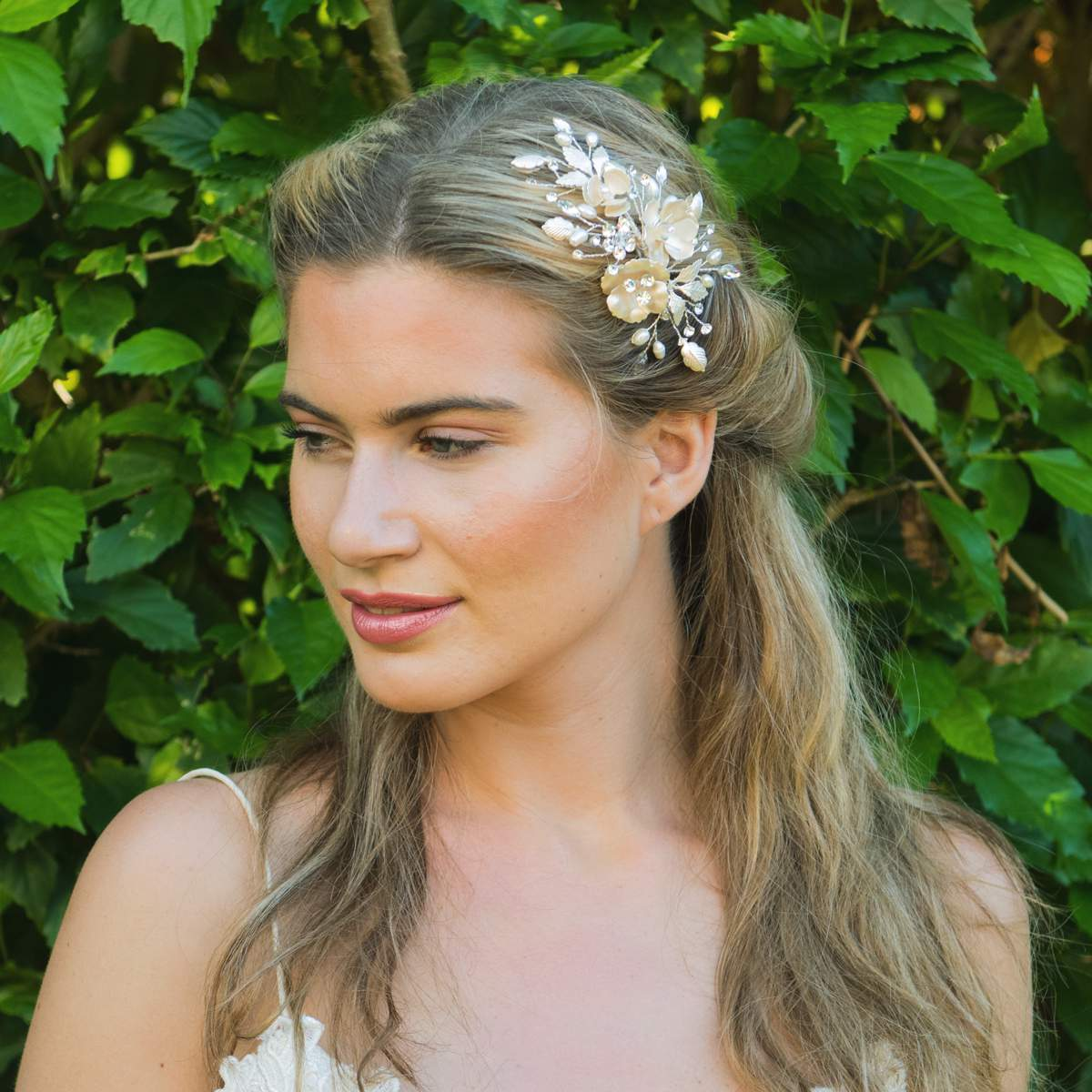 Silver Petal Hairclip, Ivory & Co.