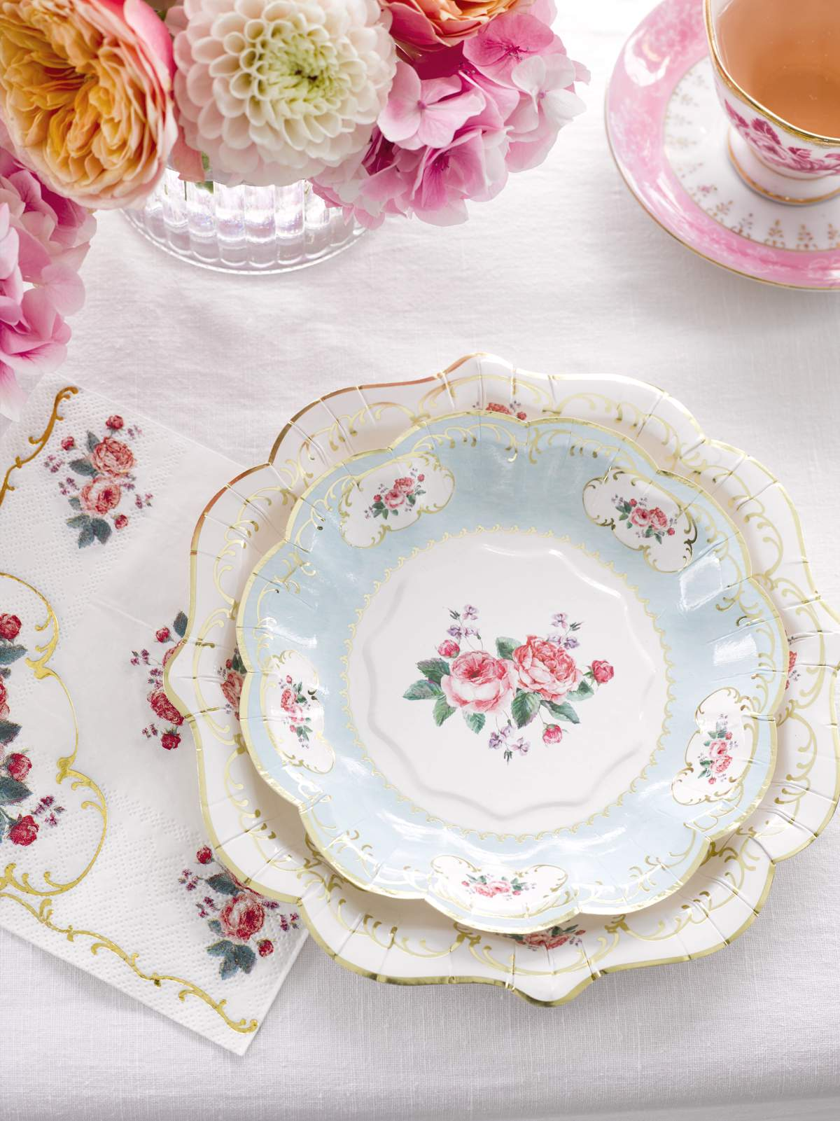 LIFESTYLE Talking Tables Truly Chintz Table Setting Detail Medium And Small Plates Napkin Lifestyle