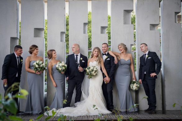 grey and gold wedding