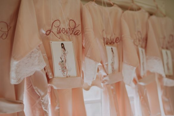 A stylish celebration with a custom wedding gown