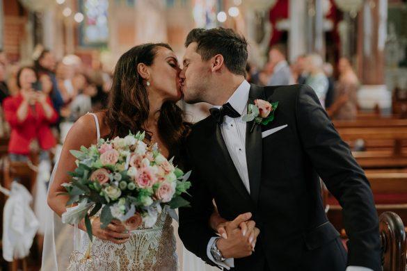 A stylish celebration with a custom wedding gown