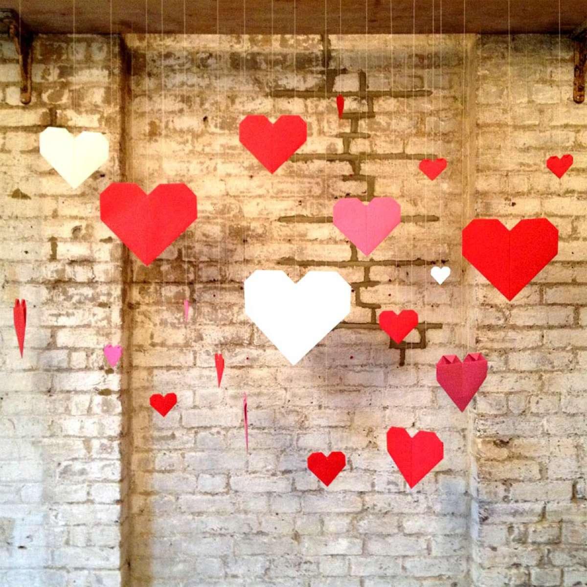 Paper hearts backdrop