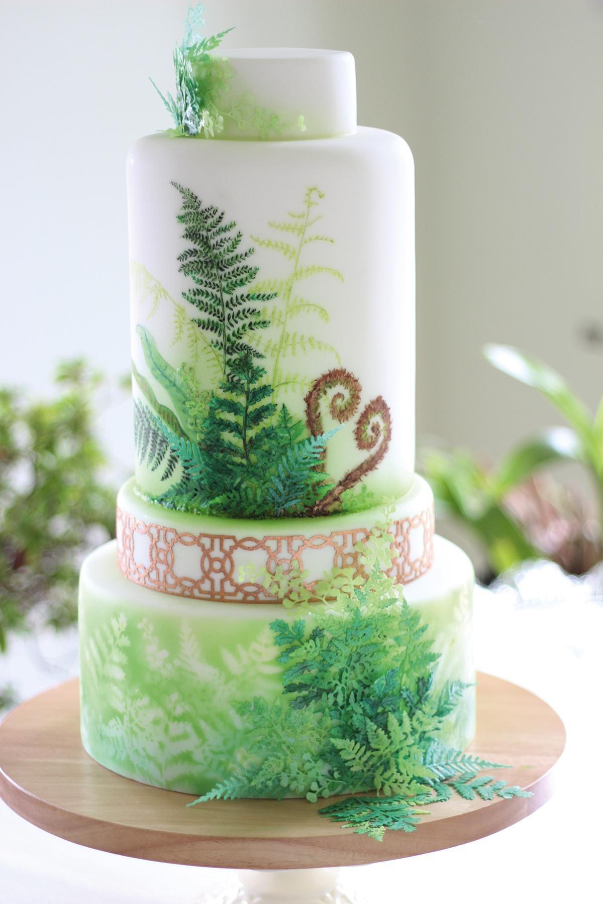 lindy-smith-fern-cake-for-botanical-wedding-shoot - Love Our Wedding