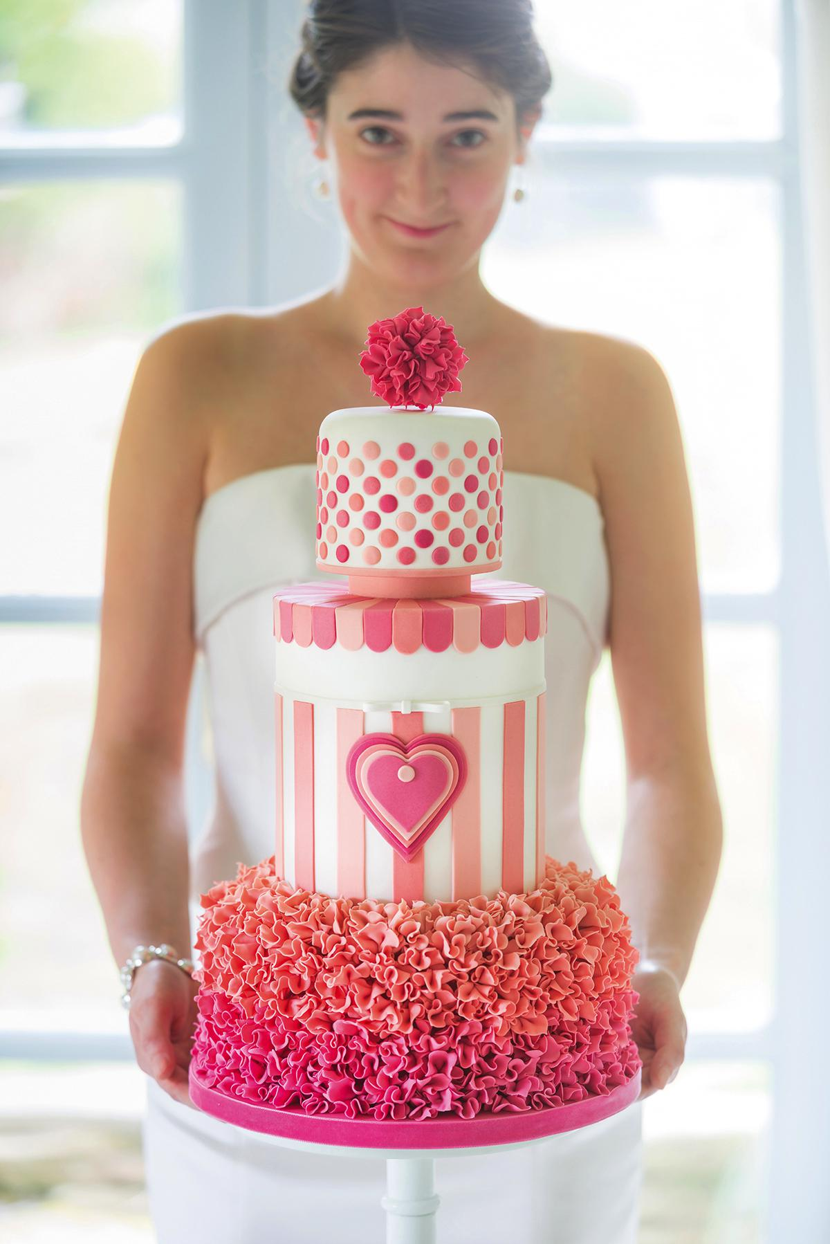 sweetheart-stripes-wedding-cake-design-in-an-ombre-pink-to-peach-colour-scheme-by-lindy-smith