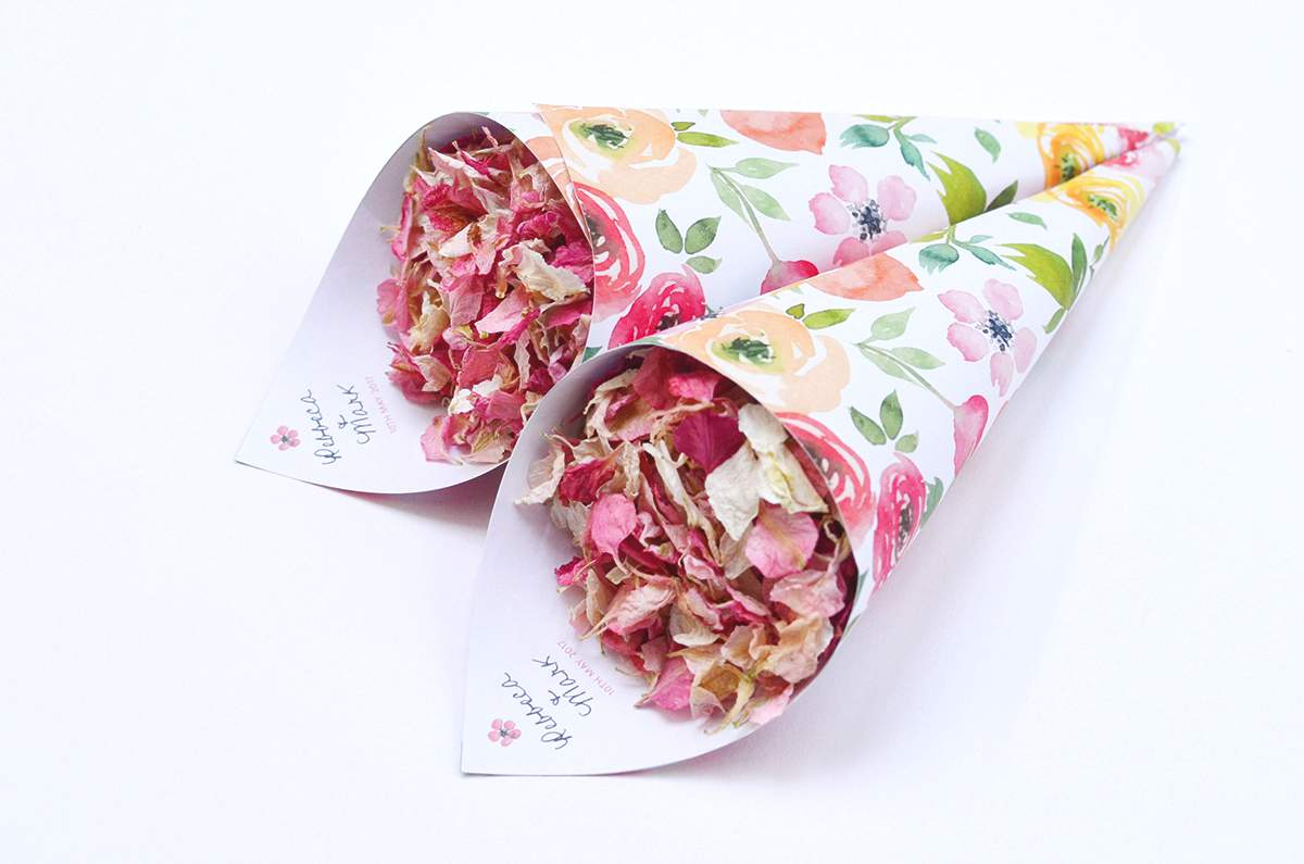 ShropshirePetals.com Watercolour Flowers theme Personalised Confetti Cones from £11 (2)