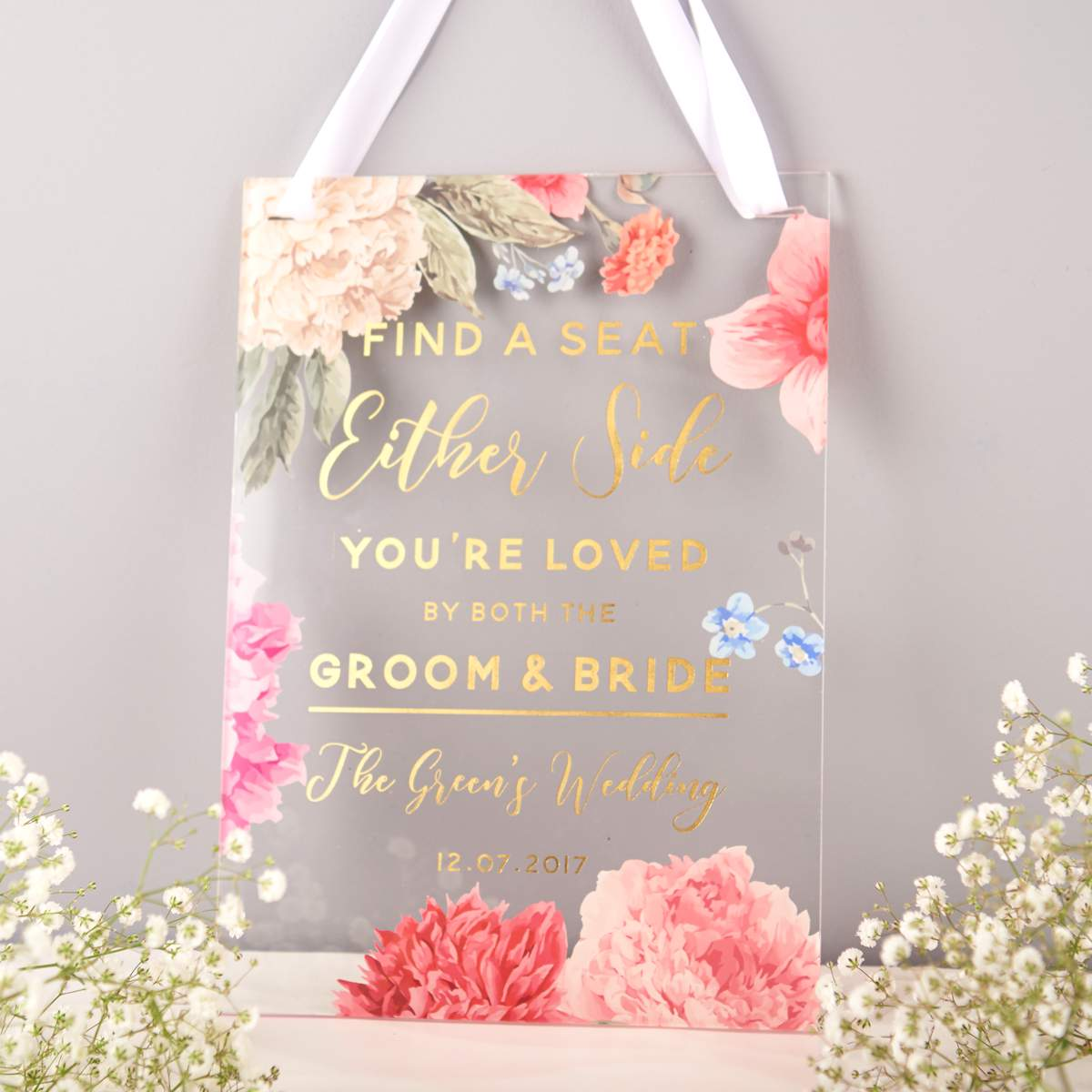 Oakdene Designs Personalised Floral And Gold Seating Wedding Signs